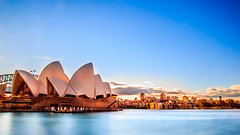 Sydney Opera House (lowelee) Tags: city longexposure light sky building water colors sunshine architecture colorful sydney bluesky operahouse sydneyoperahouse amazinglight smoothwater amazingcolor verylongexposure