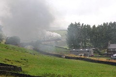 Heavy Clag!! Stanier LMS 8P Pacific 4-6-2 No. 46233 'Duchess of Sutherland' powers up the 1 in 100 Long Drag towards Horton-in-Ribblesdale with RTC 'Cumbrian Mountain Express' through heavy rain on 6th September 2014  (steamdriver12) Tags: bridge mountain west heritage drag coast long smoke yorkshire main north railway steam line company express sutherland railways carlisle touring settle rtc duchess cumbrian 46233 helwith