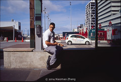Breaking time (xiaomao zhang) Tags: street leica blue light newzealand sky man film lens kodak smoke streetphotography sunny slide slidefilm explore auckland scanned streetphoto noctilux 135 kodake100vs e6 e100vs queenstreet breaking 135mm f095 2014 streetphotographer xiaomao leicamp 135film leicaphotography streetphotgrapher leicaphotographer xiaomaozhang
