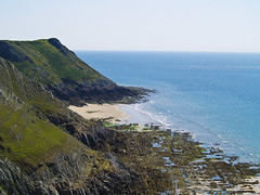 Pennard Cliffs (Alexander Jones - Documentary Photography) Tags: blue sea sky seascape beauty swansea wales landscape photography bay three natural south documentary sunny olympus cliffs area gower outstanding e500 pennard