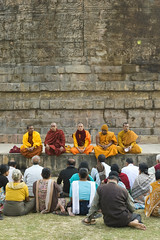 Group prayers at the Dhamek Stupa (wandervox) Tags: india nikon buddha buddhist monk buddhism holy varanasi enlightenment dharma pilgrimage prayers ganges uttarpradesh 2470 gautama dhamekhstupa d700 sarnarth dhamekstupa