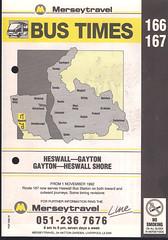Merseytravel (Wirral) Timetable Route #166, 167 (From 1st November 1992) (Luke O'Rourke) Tags: merseytravel merseybus liverpool wirral westkirby birkenhead birkenheadwoodside crosville timetable timetables newbrighton bromborough bus
