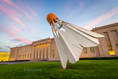 Shuttlecock (telks) Tags: city sunset color art grass museum angle wide nelson kansas nelsonatkins shuttlecock