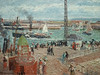 PISSARRO Camille,1903 - L'Anse des Pilotes et le Brise-lames Est, Le Havre, Après-Midi, Temps ensoleillé (Le Havre) - Détail 08
