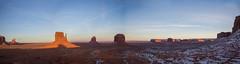 The Mittens and Merrick Butte at Golden Hour, Panorama, Monument Valley Tribal Park, Utah-Arizona 01 (raelala) Tags: 2016 navajonationreservation arizona canon2470mm canon5dmarkiii canoneos5dmkiii canoneos5dmk3 december december2016 goldenhour monumentvalley navajonation navajonationtribalparks navajotribalpark panorama photographybyrachelgreene rachelgreene roadtrip somuchfuckingmajesty sunset thatlalagirl thatlalagirlphotography thatlalagirlcom travel utah westcoast