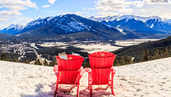 Red Chairs at Banff National Park (Bluesky251) Tags: alberta banff bright canada chair forest light melt mountains natural nature red relax skyline snow spring warm white beautiful view