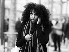 (graveur8x) Tags: woman candid street portrait frankfurt germany deutschland blackandwhite black winter scarf hair mobilephone eyecontact look dof people outdoor outside zeil bokeh streetphotography strase olympus olympusm75mmf18 panasonic lumix lumixgx80 panasonicdmcgx80 microfourthirds m43
