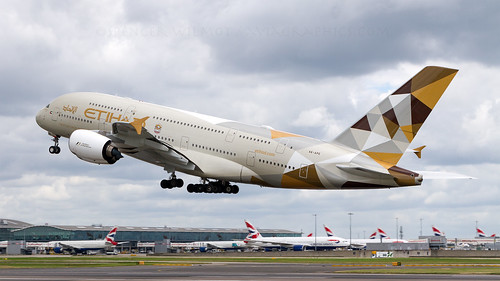 Etihad A380 Departing Heathrow.