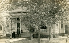 Where Mary and Charlie Stay Most of the Time (Alan Mays) Tags: ephemera postcards realphotopostcards rppc photos photographs foundphotos portraits men women mary charlie buildings houses homes windows porches lawns yards sidewalks trees antique old vintage houseproud