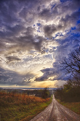 Storm Road (Kansas Poetry (Patrick)) Tags: storm stormclouds tornadicweather thunderstorm rain dirtroad kansas stormweather clintonlake patrickemerson