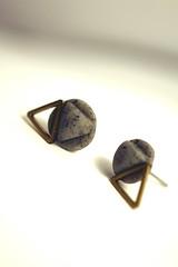 Triangle and fake stone earrings (Sparkling Mary) Tags: geometric triangolo triangle stud earrings orecchini mountains fattiamano handmade myshop etsy jewelery primavera elegant stone pietra marmo marble