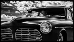 Black is Back (Ramon Quaedvlieg Photo) Tags: car classic classiccar vehicle transportation transport oldtimer oldcar sky clouds blackandwhite blackandwhitephotography headlight black dark reflection ijmuiden netherlands