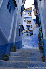 Looking up a side street in Chefchaouen Medina (adventurousness) Tags: bluecity chefchaouenthebluepearl thebluecity blue chaouen chefchaouen morocco stairs street travel medina