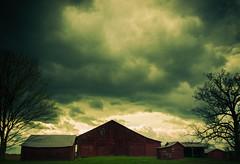 Abandoned Farm (JLBondia) Tags: farm abandoned rural country kentucky cloud sky red redbarn tree framed weather nature smalltown