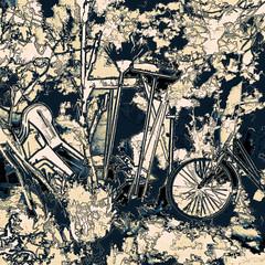 things in the backyard (j.p.yef) Tags: peterfey jpyef yef digitalart garden backyard monochrome differentthings bicycle broom spade chair bucket