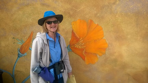 "Merri with California poppy mural • <a style=""font-size:0.8em;"" href=""http://www.flickr.com/photos/10528393@N00/14315349938/"" target=""_blank"">View on Flickr</a>"