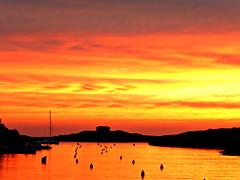 Sky on Fire (chimpaloahi) Tags: sea sky skyline fire menorca santandria