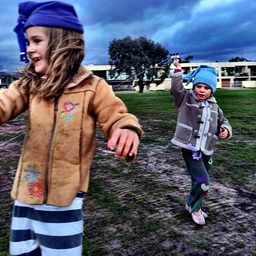 365/182 • kite flying just before the rainstorm • #2014_ig_182 #6yo #3yo #winter #saturdayafternoon #running #kites