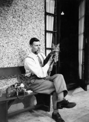 PUSSY ON MY LAP (JOHN MORGAN .) Tags: uk bw white black vintage found photo interesting different unitedkingdom and unusual