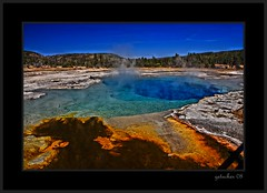 Smoke on the Water (the Gallopping Geezer 3.3 million + views....) Tags: hot nature water colors pool canon landscape nationalpark natural yellowstone wyoming geyser 2008 tones steamy geezer corel adifferentworld