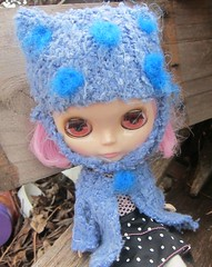 Melissa in her hand sewn  coat and hat by me