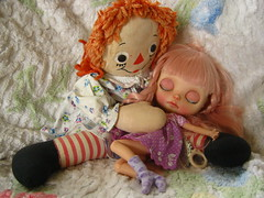 IMG_8508...Raggedy Ann has sung Heaven to sleep.  Ann's soft, cotton stuffed voice was so soothing, Heaven fell right to sleep!