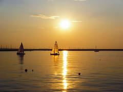 Harbour Sunset (Carmel..) Tags: blue ireland sunset sea sky cloud sunlight water gold haze adobephotoshop silhouettes sail ripples sailboats buoy eastpier dunlaoghaire codublin dunlaoghaireharbour leicac