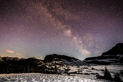 Night Sky (slumbernaut) Tags: longexposure sky mountains bulb night rural timelapse background scenic panoramic noflash nighttime galaxy astrophotography midnight astronomy glaciernationalpark solarsystem galactic milkyway 17mm