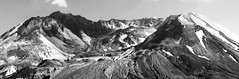 Mount St. Helens Volcano (Nick Mulcock) Tags: blackandwhite panorama white black st contrast flow volcano lava high day mud slide glacier clear mount dome landslide land present helens mudslide mountsthelens current recent mtsthelens detailed pyroclastic lavadome craterglacier