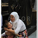 Madrid - OCT 20: Muslim woman with her daughter on OCT 20, 2011