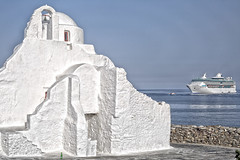 (#2.351) Mykonos Panagias Paraportiani (unicorn 81) Tags: street old city travel blue vacation sky white color colour building church beautiful architecture