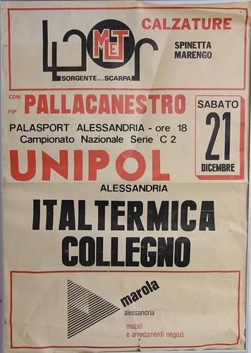 Manifesto Alessandria vs. Collegno Basket . Serie C2 Maschile