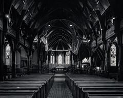 Post and Beam (gomezthecosmonaut) Tags: bw film churches wellington largeformat stainedglasswindows kodakportra400 oldstpauls toyoview45g schneiderkreuznachsupersymmarhm120mmf56