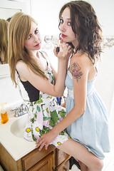 Emily and Taylor (austinspace) Tags: portrait woman studio washington women spokane duo blond blonde brunette redroom alienbees