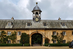 Clock Tower - Belton House (lincoln_eye) Tags: uk greatbritain windows summer england building clock stone clouds europe unitedkingdom eu september lincolnshire cupola gb classical gravel belton countryhouse hedges outbuilding beltonhouse 2014 heritageopenday