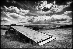 S.T. (Arkitas) Tags: sky bw nuvole nb bn campagna campo paesaggi trattore campi panorami cy21mm