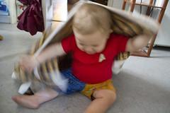 Akkadian-wrapped Sam (quinn.anya) Tags: playing toddler sam fabric akkadian spoonflower lauriesfabric