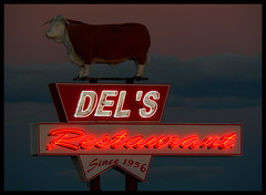 Del's Restaurant (Dusty_73) Tags: road new old trip travel usa sign america vintage mexico restaurant cow neon united 66 route signage states roadside nm tucumcari dels