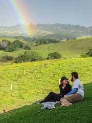 Lucky Couple (gecko47) Tags: sunshine landscape rainbow couple view farmland explore lucky nsw hilltop potofgold bangalow endoftherainbow tofala