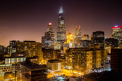 Chicago at Night (T P Mann Photography) Tags: chicago illinois night dark long exposure slow shutter sky skyline skyscraper glow light lights action alive busy downtown city cityscape ngc