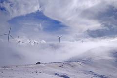 the Adventurer (gtsimis) Tags: drive car jeep outdoors mountain winter snow clouds windmills sky white blue fog greece achaia panachaikon patras shapes ricohimaging pentaxk1 fullframe wind adventure travel wideangle