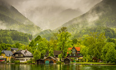 Private Moorings (Trev Bowling) Tags: austria stwolfgang mooring mere lake water mountain alps boathouse