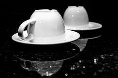 01 Two Coffee Cups (jeanettefellows) Tags: clarke hotel waukesha wisconsin two coffee mugs cups white blackandwhite lowkey reflection
