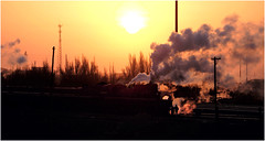 Morning Preparations (Welsh Gold) Tags: sunrise dongbolizhan js steam locomotives morning preparations new shift xinjaing province china