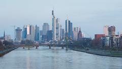 Frankfurt (Guenzelsen) Tags: 150mm 2017 5d blaue bridge deutschland ezb frankfurt hessen lichter main osthafen panorama skyline spiegelungen stunde blue hour sonnenaufgang sunrise