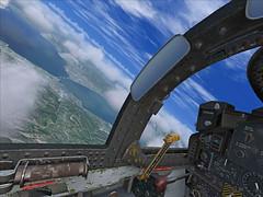 A Phantom's POV (gtsimis) Tags: mcdonelldouglas phantom f4 haf greece rionantirrion bridge aircraft aviation flightsimulator pov achaia flight fighter cockoit clouds sky blue sea land