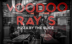 Voodoo Rays (Alex Chilli) Tags: pizza window reflection voodoorays shoreditch hoxton london canon eos 70d colourpop reflect glass sign sigma street photography