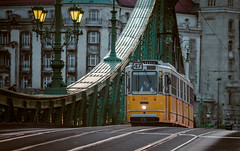 Budapest (Vagelis Pikoulas) Tags: travel tram budapest hungary europe liberty bridge canon 6d blue hour tamron 70200mm vc f28 autumn 2016 november street road