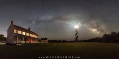 Cape Hatteras Milky Way Pano (Mike Ver Sprill - Milky Way Mike) Tags: capehatteras milkywaygalaxy pano panorama nightsky nightscape landscape light lighthouse house striped candycane barbershop nikond800 1424 northcarolina obx outerbanks night sky astrophotography astronomy mike ver sprill michael versprill beautiful amazing