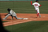 Think fast -- ball thrown past first, Mookie scrambles to keep running (ConfessionalPoet) Tags: redsox baseball openingday2017 mookiebetts rightfielder rf baserunner firstbase joshbell pittsburghpirates firstbaseman 1b